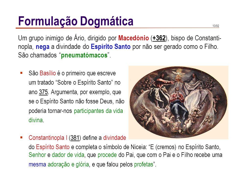 Formulação Dogmática Um grupo inimigo de Ário, dirigido por Macedónio (+362), bispo de Constanti-