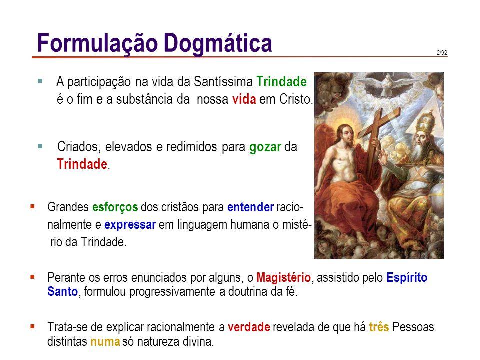 Formulação Dogmática A participação na vida da Santíssima Trindade