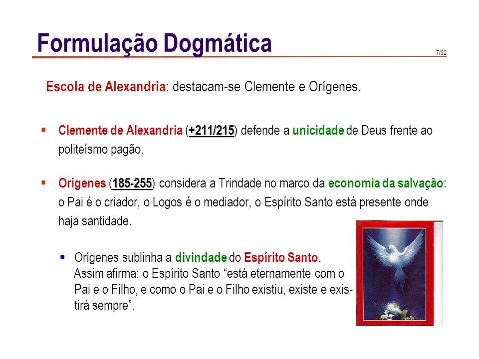 Formulação Dogmática Escola de Alexandria: destacam-se Clemente e Orígenes. Clemente de Alexandria (+211/215) defende a unicidade de Deus frente ao.