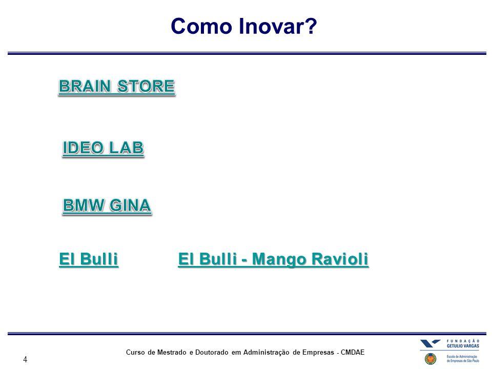 Como Inovar BRAIN STORE IDEO LAB BMW GINA El Bulli