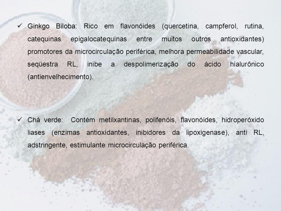 Ginkgo Biloba: Rico em flavonóides (quercetina, campferol, rutina, catequinas epigalocatequinas entre muitos outros antioxidantes) promotores da microcirculação periférica, melhora permeabilidade vascular, seqüestra RL, inibe a despolimerização do ácido hialurônico (antienvelhecimento).