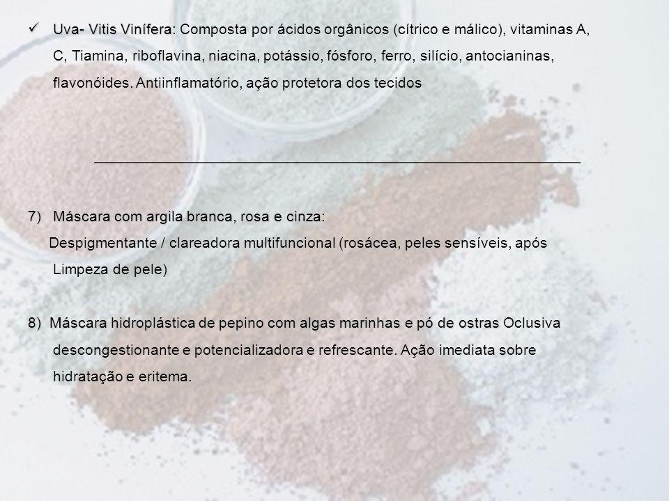 Uva- Vitis Vinífera: Composta por ácidos orgânicos (cítrico e málico), vitaminas A, C, Tiamina, riboflavina, niacina, potássio, fósforo, ferro, silício, antocianinas, flavonóides. Antiinflamatório, ação protetora dos tecidos