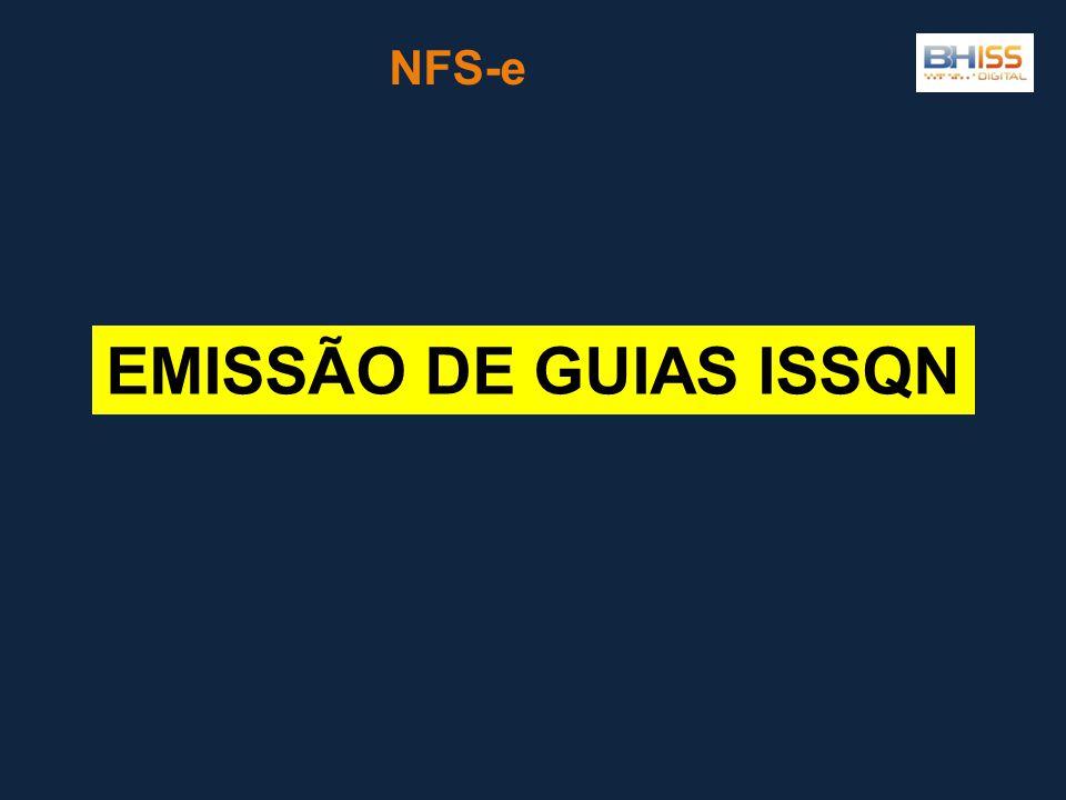 NFS-e EMISSÃO DE GUIAS ISSQN