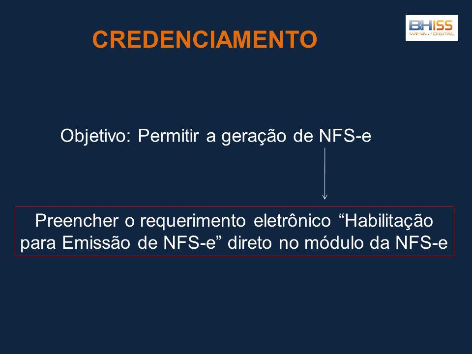 CREDENCIAMENTO Objetivo: Permitir a geração de NFS-e