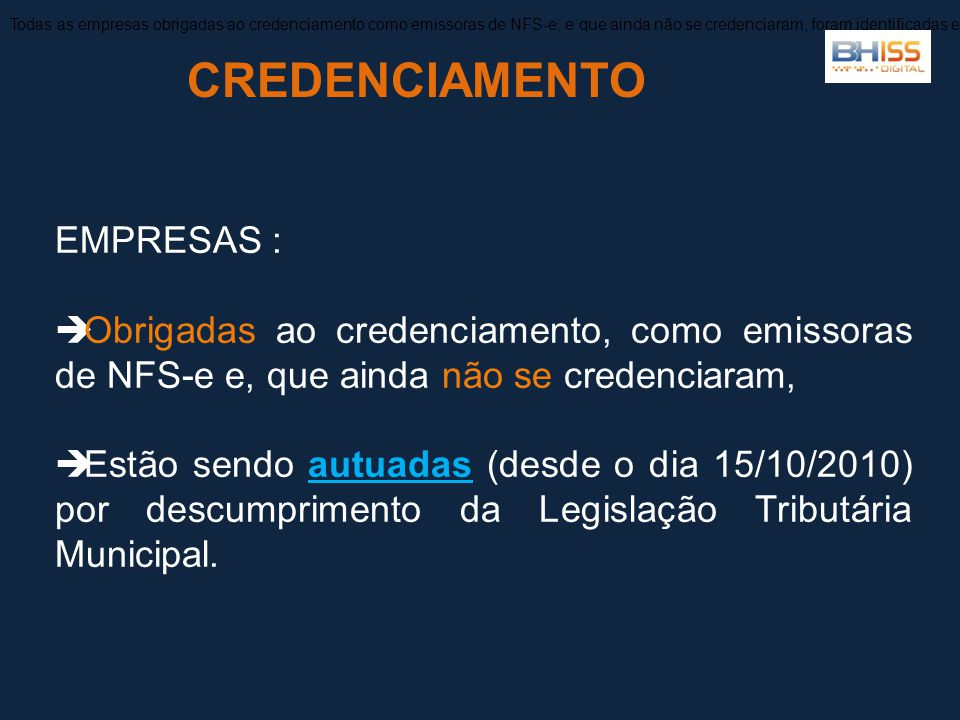 CREDENCIAMENTO EMPRESAS :