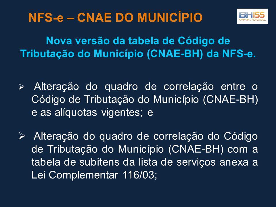 NFS-e – CNAE DO MUNICÍPIO