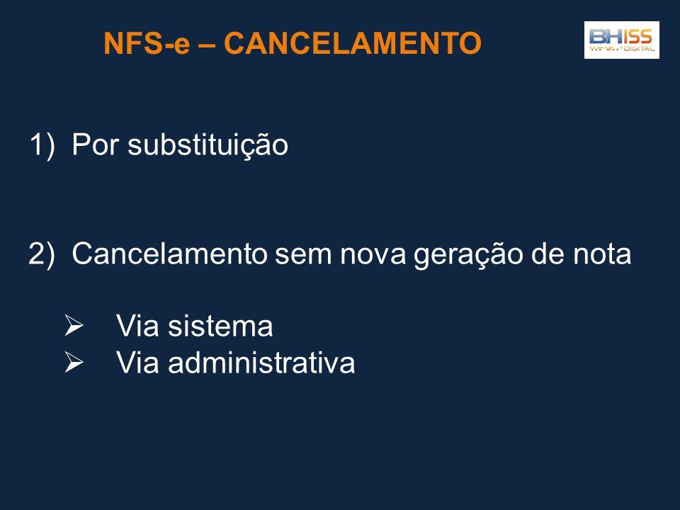 NFS-e – CANCELAMENTO 1) Por substituição. 2) Cancelamento sem nova geração de nota. Via sistema.