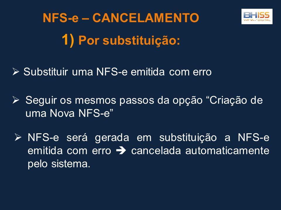 NFS-e – CANCELAMENTO Por substituição: