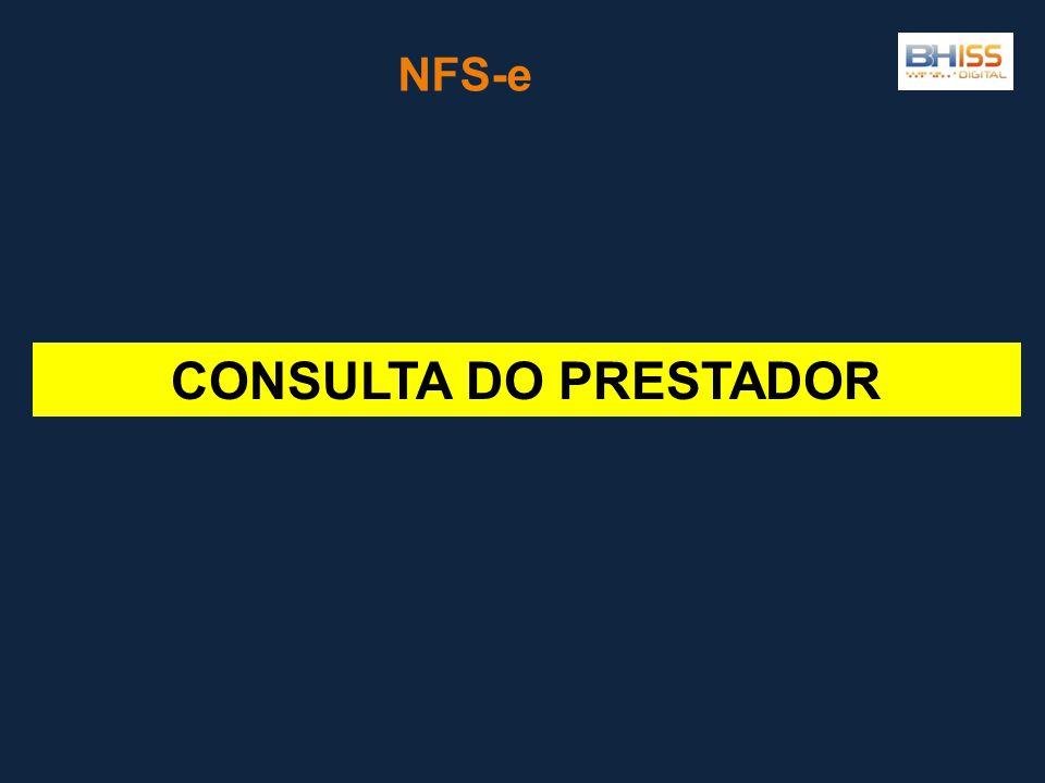 NFS-e CONSULTA DO PRESTADOR