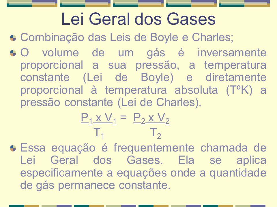 Lei Geral dos Gases Combinação das Leis de Boyle e Charles;