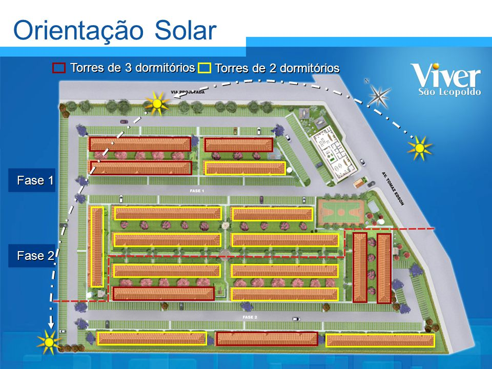 Orientação Solar Torres de 3 dormitórios Torres de 2 dormitórios