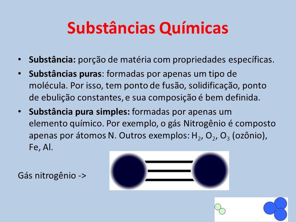 Substâncias Químicas Substância: porção de matéria com propriedades específicas.