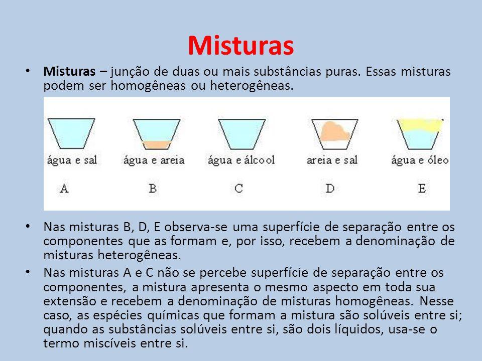 Misturas Misturas – junção de duas ou mais substâncias puras. Essas misturas podem ser homogêneas ou heterogêneas.
