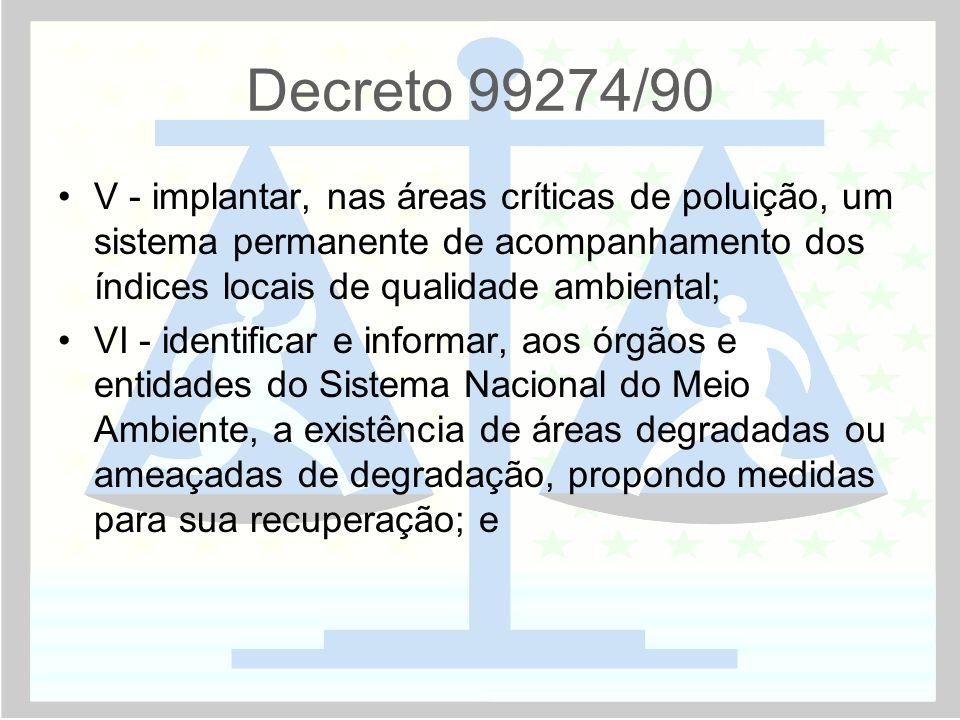 Decreto 99274/90 V - implantar, nas áreas críticas de poluição, um sistema permanente de acompanhamento dos índices locais de qualidade ambiental;