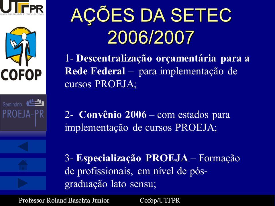 AÇÕES DA SETEC 2006/2007 1- Descentralização orçamentária para a Rede Federal – para implementação de cursos PROEJA;