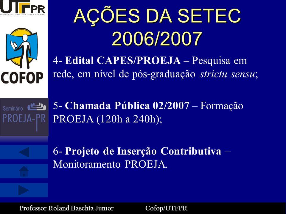 AÇÕES DA SETEC 2006/2007 4- Edital CAPES/PROEJA – Pesquisa em rede, em nível de pós-graduação strictu sensu;