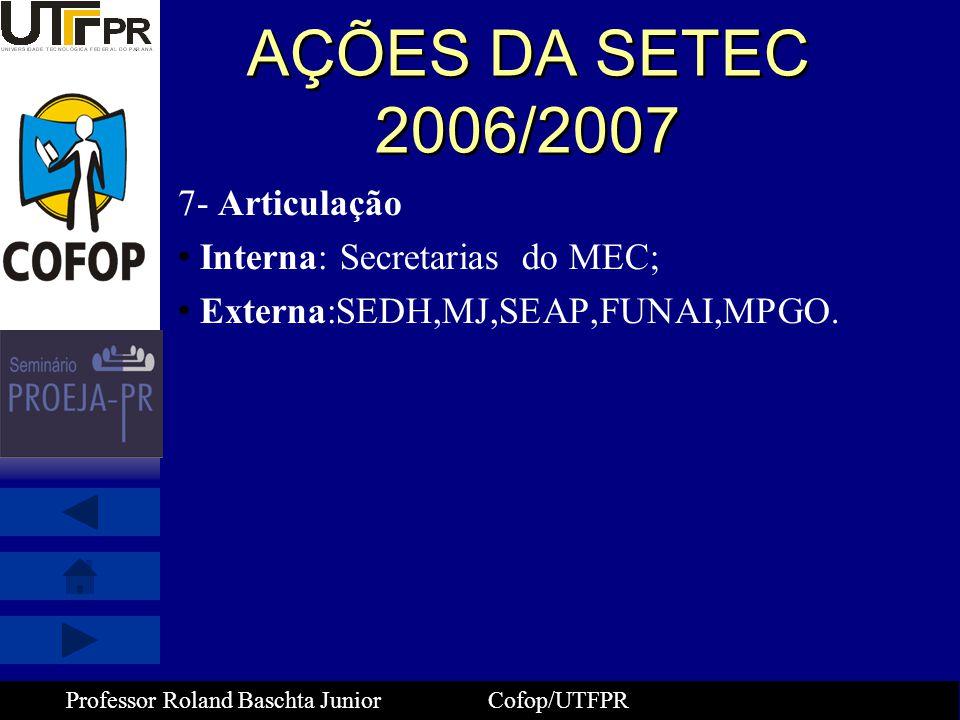 AÇÕES DA SETEC 2006/2007 7- Articulação Interna: Secretarias do MEC;