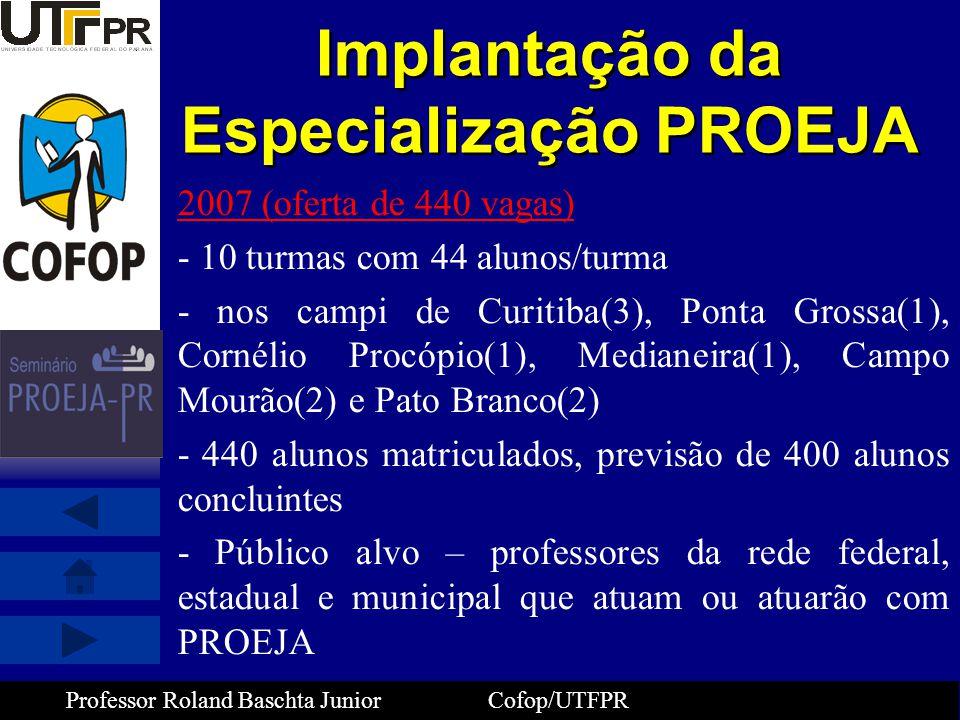 Implantação da Especialização PROEJA