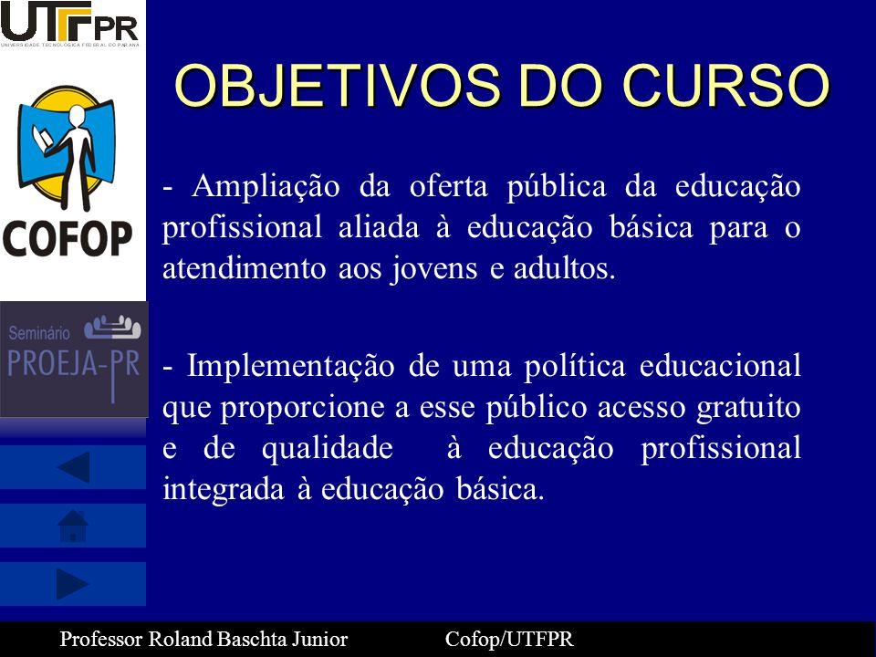 OBJETIVOS DO CURSO - Ampliação da oferta pública da educação profissional aliada à educação básica para o atendimento aos jovens e adultos.