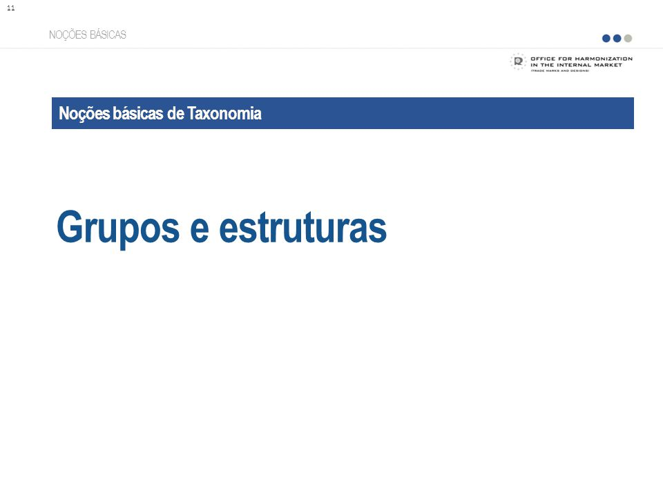 Grupos e estruturas Noções básicas de Taxonomia NOÇÕES BÁSICAS