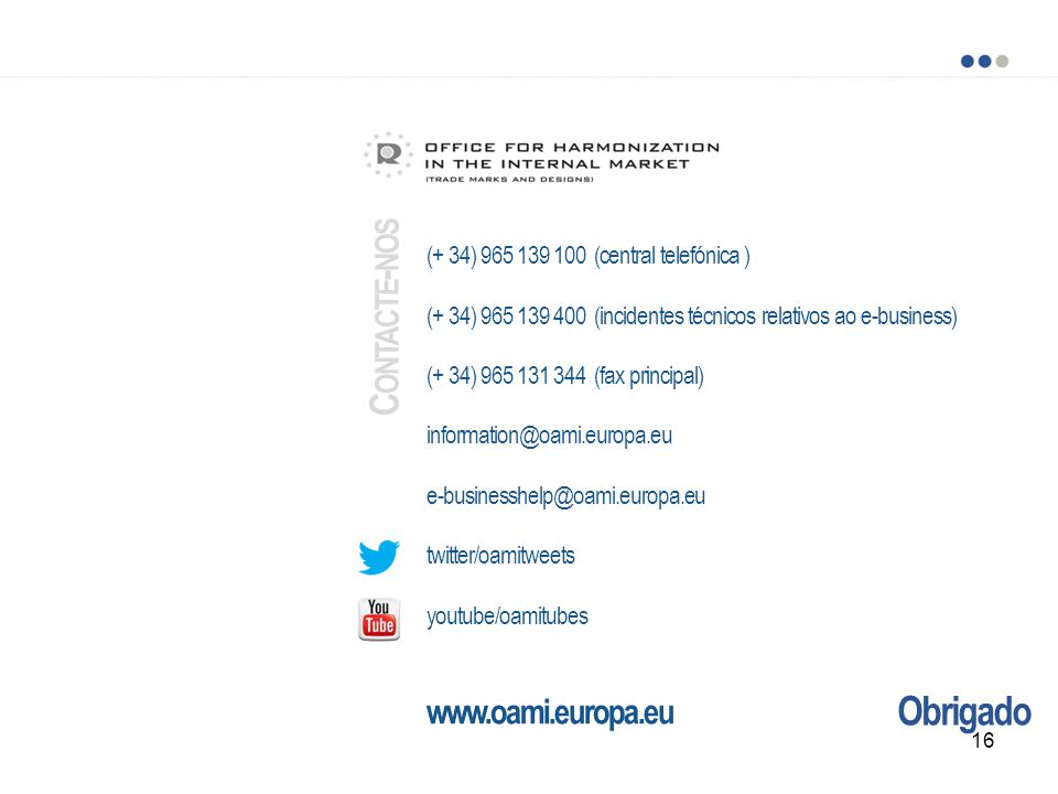Contacte-nos Obrigado www.oami.europa.eu