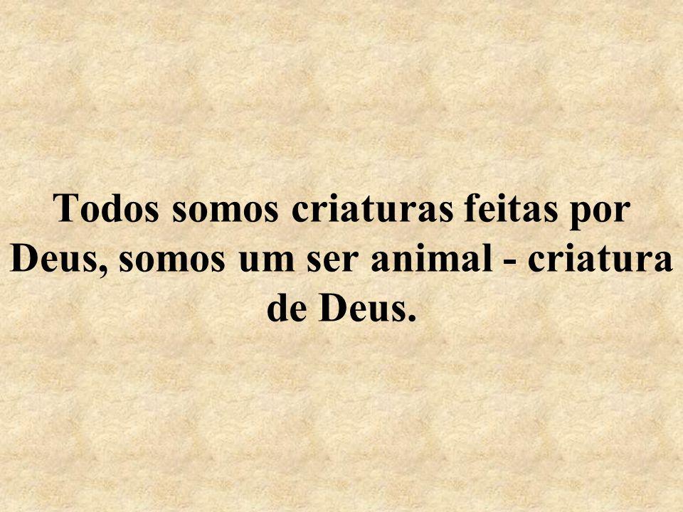 Todos somos criaturas feitas por Deus, somos um ser animal - criatura de Deus.