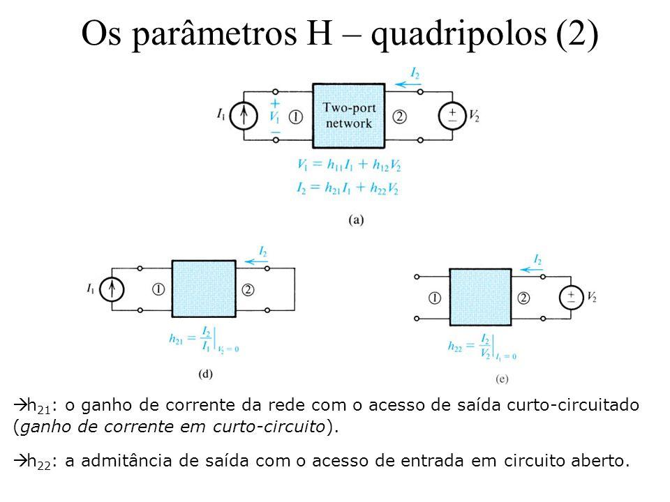 Os parâmetros H – quadripolos (2)