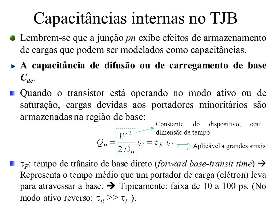 Capacitâncias internas no TJB