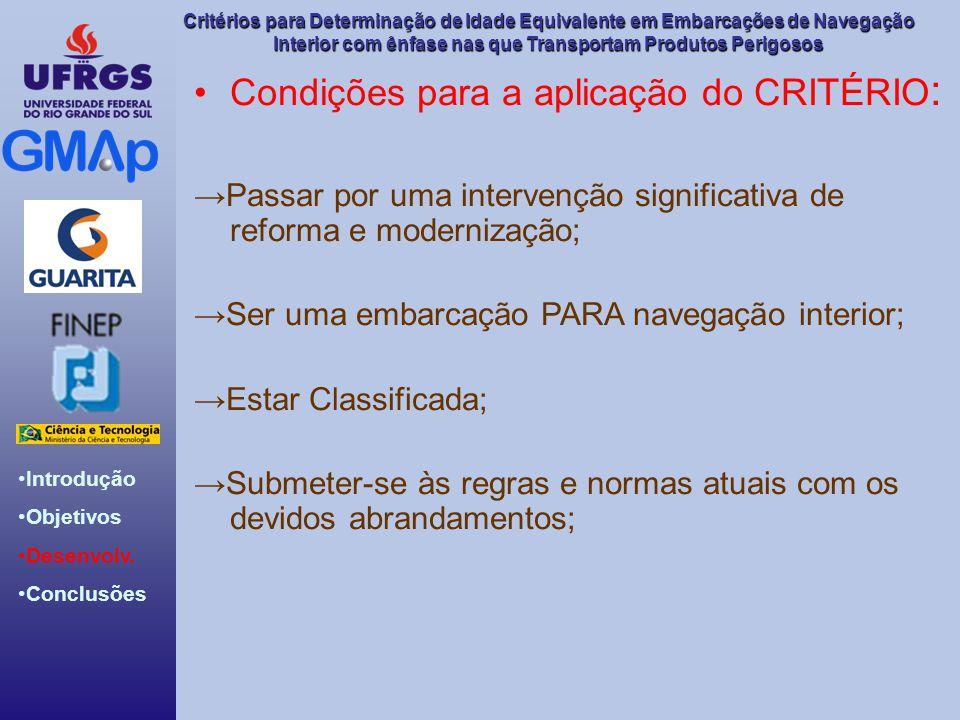 Condições para a aplicação do CRITÉRIO: