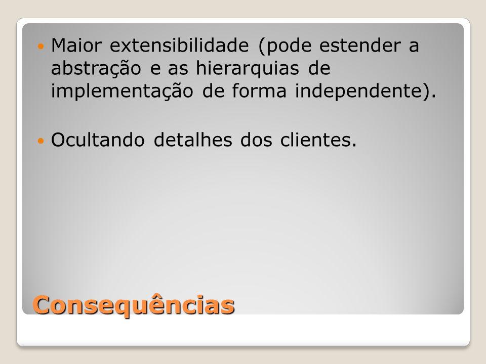 Maior extensibilidade (pode estender a abstração e as hierarquias de implementação de forma independente).