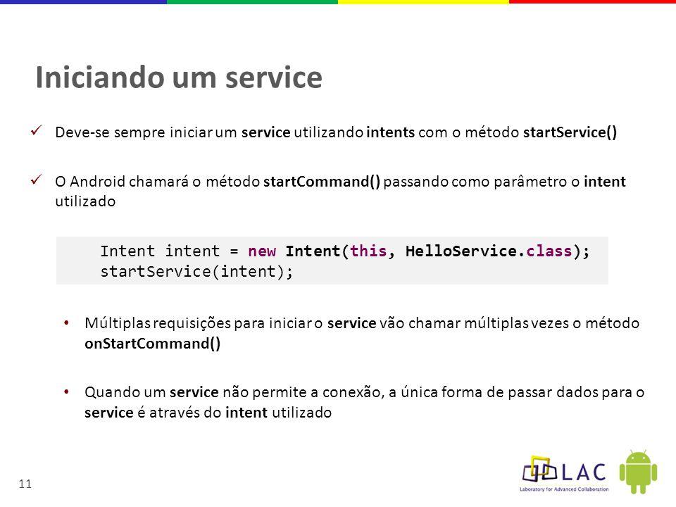 Iniciando um service Deve-se sempre iniciar um service utilizando intents com o método startService()