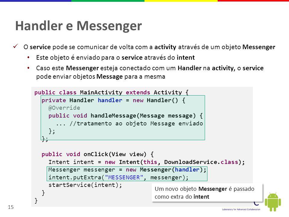 Handler e Messenger O service pode se comunicar de volta com a activity através de um objeto Messenger.