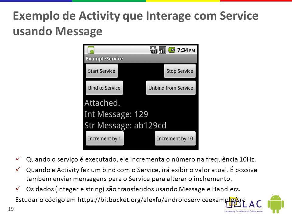 Exemplo de Activity que Interage com Service usando Message
