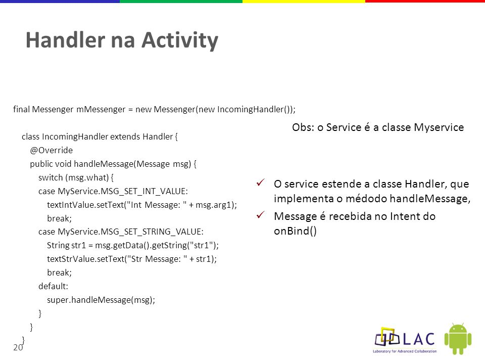 Handler na Activity Obs: o Service é a classe Myservice