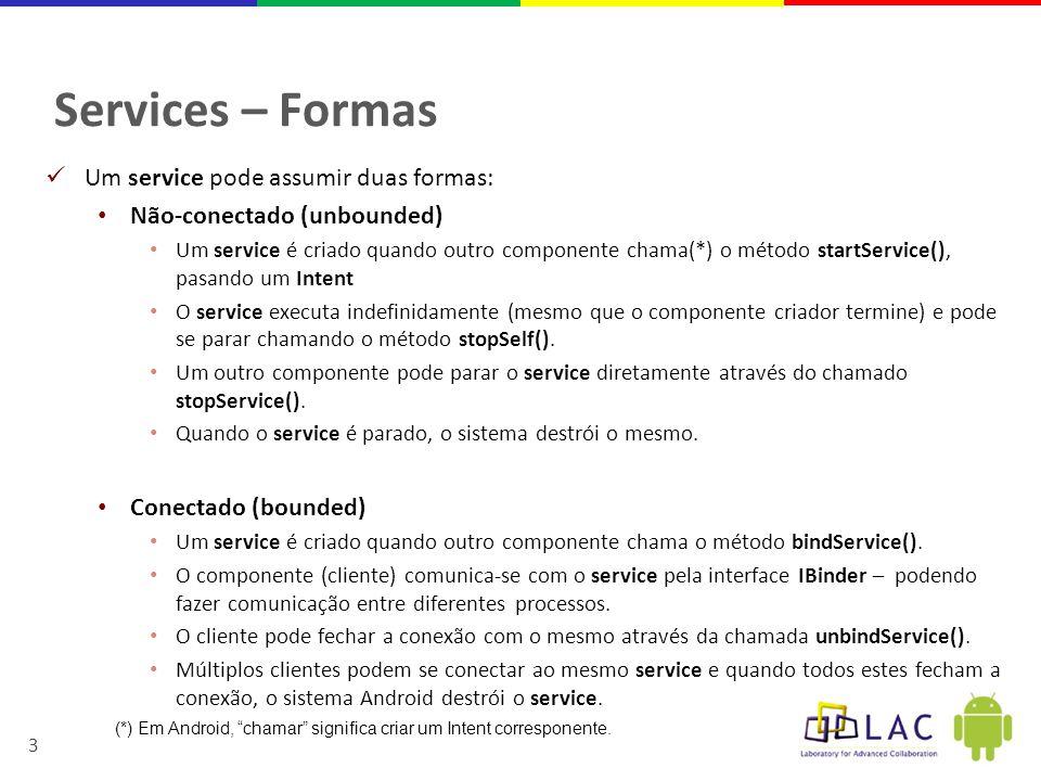 Services – Formas Um service pode assumir duas formas: