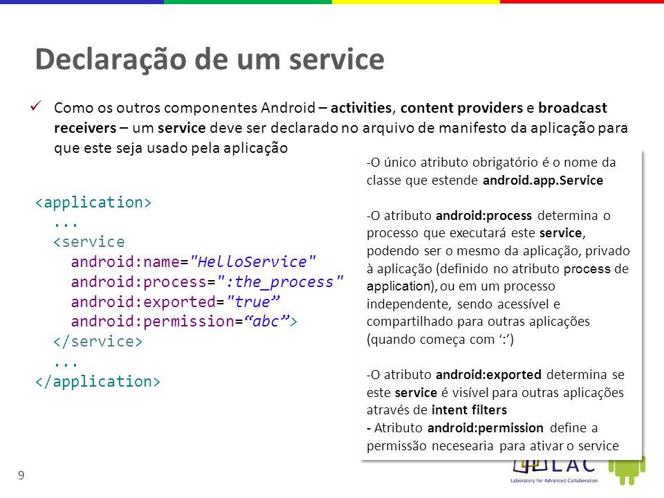 Declaração de um service
