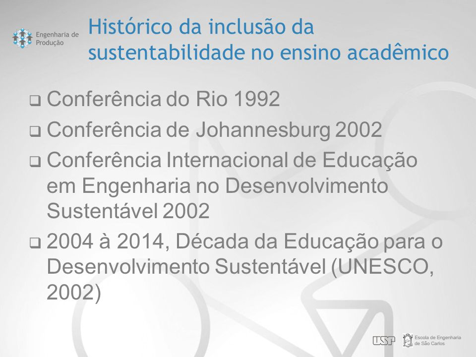 Histórico da inclusão da sustentabilidade no ensino acadêmico