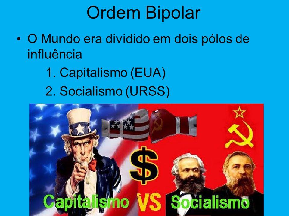 Ordem Bipolar O Mundo era dividido em dois pólos de influência