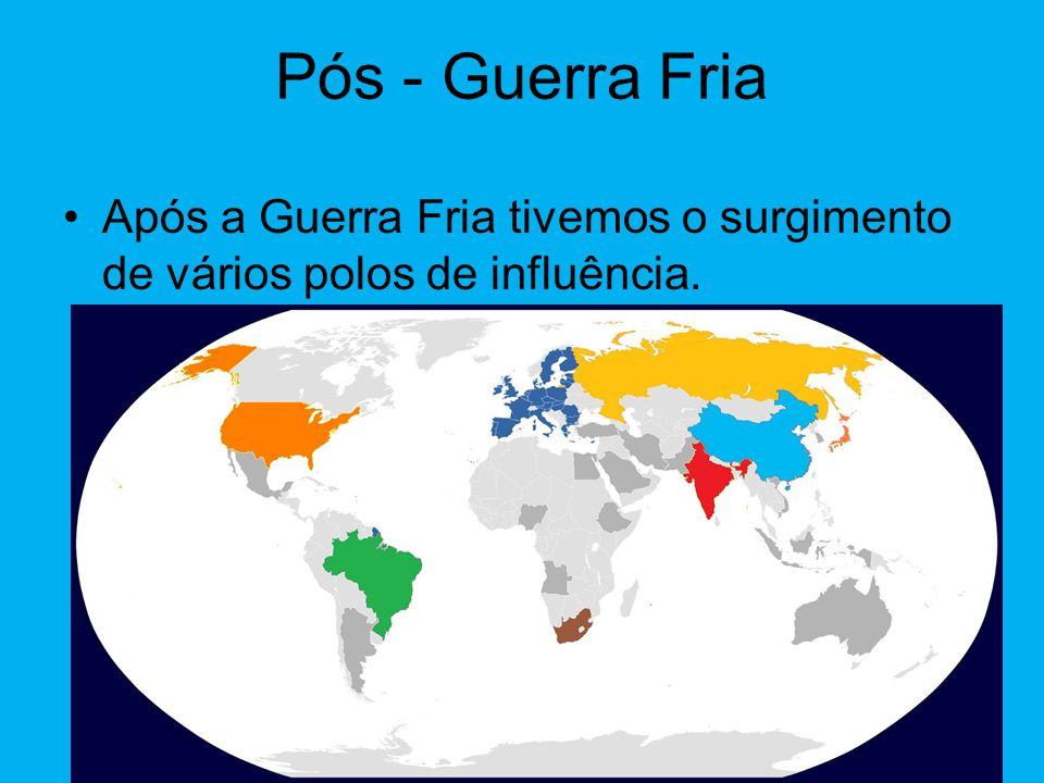 Pós - Guerra Fria Após a Guerra Fria tivemos o surgimento de vários polos de influência.