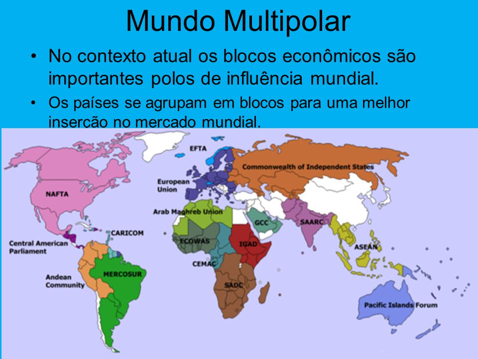 Mundo Multipolar No contexto atual os blocos econômicos são importantes polos de influência mundial.