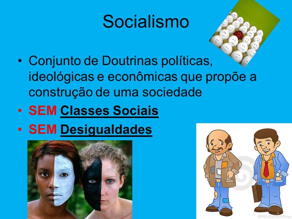 Socialismo Conjunto de Doutrinas políticas, ideológicas e econômicas que propõe a construção de uma sociedade.