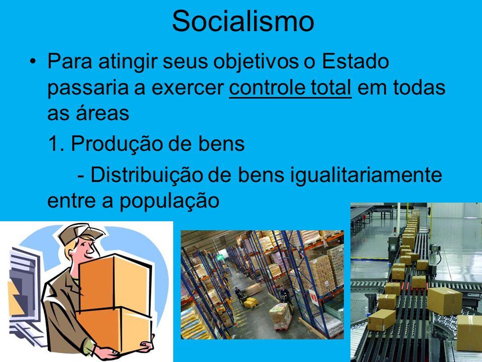 Socialismo Para atingir seus objetivos o Estado passaria a exercer controle total em todas as áreas.