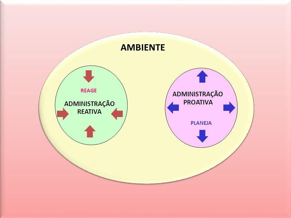AMBIENTE REAGE ADMINISTRAÇÃO ADMINISTRAÇÃO PROATIVA REATIVA PLANEJA