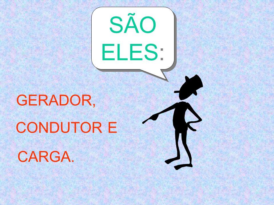 SÃO ELES: GERADOR, CONDUTOR E CARGA.