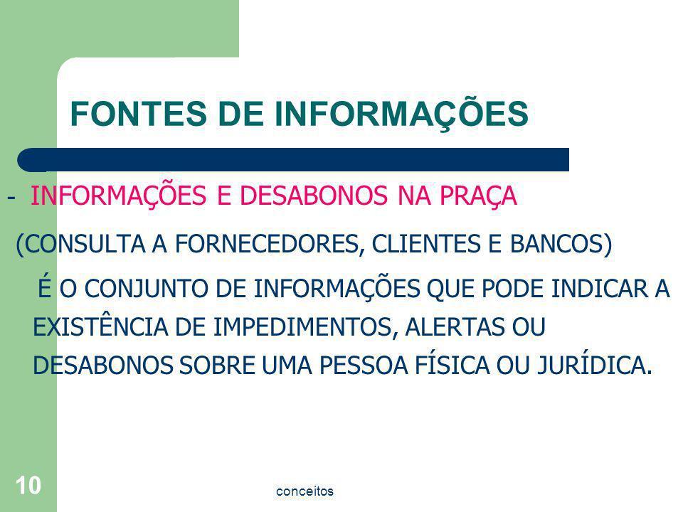 FONTES DE INFORMAÇÕES - INFORMAÇÕES E DESABONOS NA PRAÇA