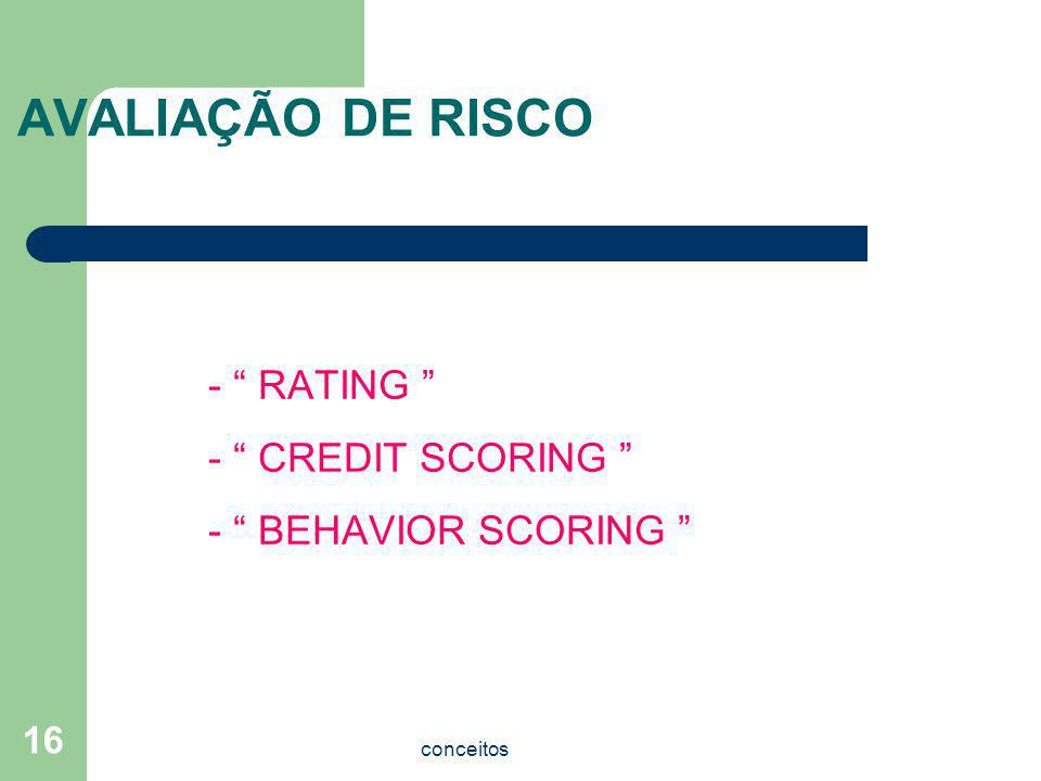 AVALIAÇÃO DE RISCO - RATING - CREDIT SCORING