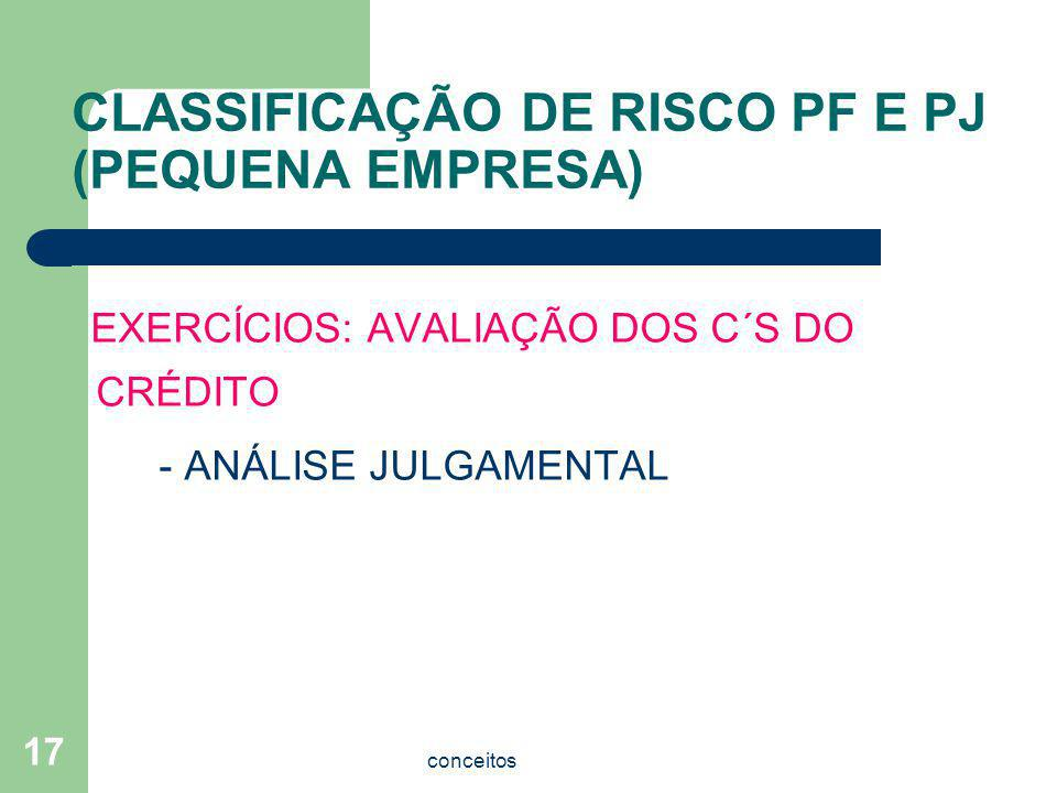 CLASSIFICAÇÃO DE RISCO PF E PJ (PEQUENA EMPRESA)