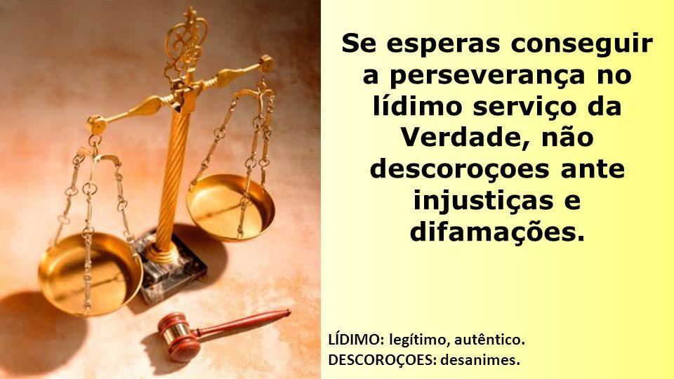 Se esperas conseguir a perseverança no lídimo serviço da Verdade, não descoroçoes ante injustiças e difamações.