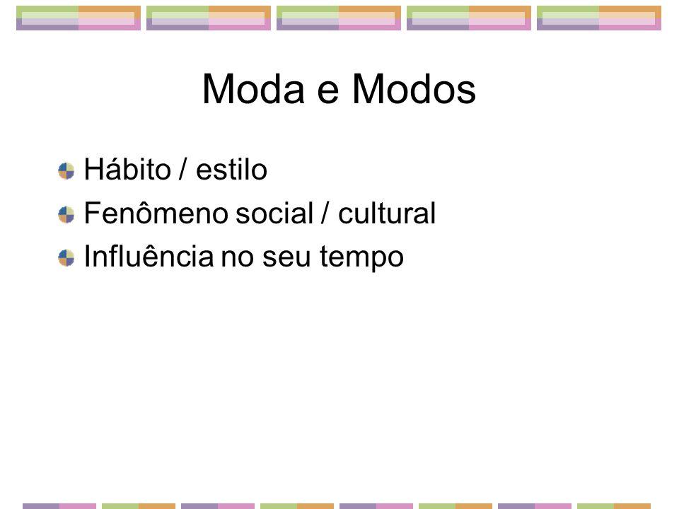 Moda e Modos Hábito / estilo Fenômeno social / cultural