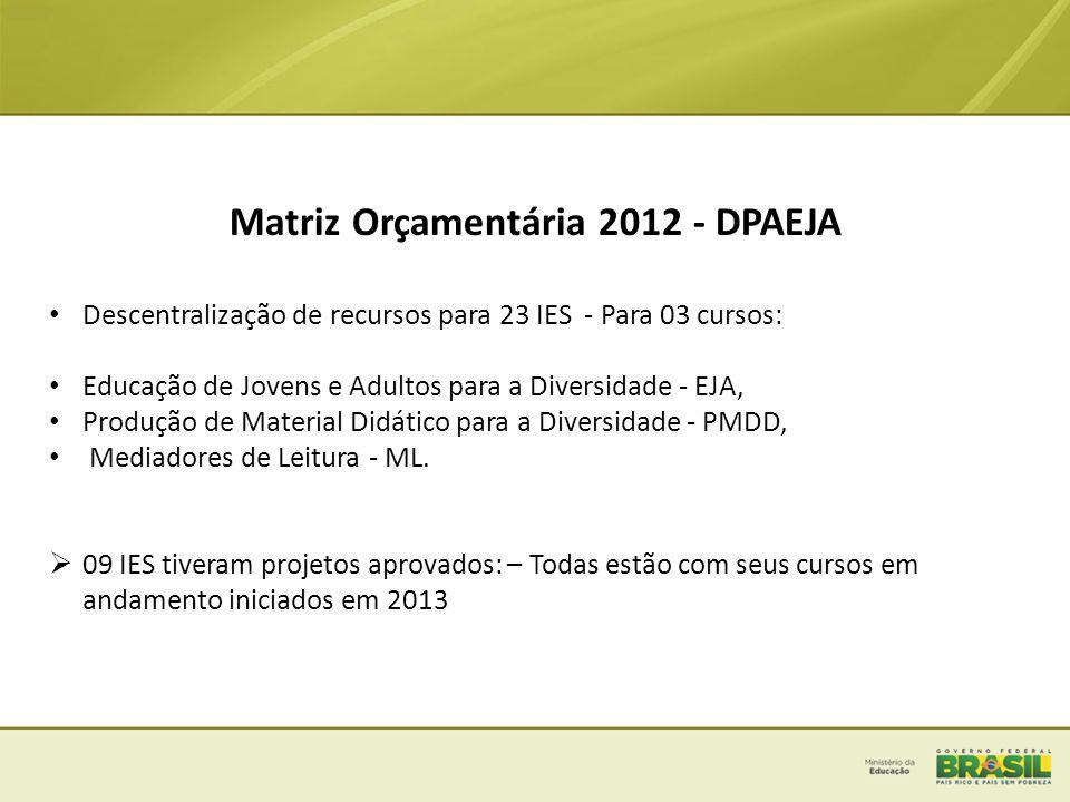 Matriz Orçamentária 2012 - DPAEJA